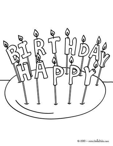 Desenho de velas de aniversário para colorir