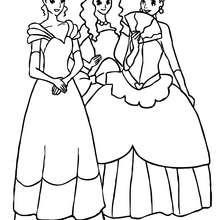 Desenho de três lindas princesas  para colorir