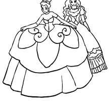 Desenho de duas princesas bem vestidas para colorir