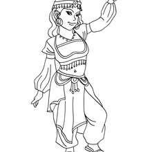 Desenho de uma Princesa bela Árabe para colorir
