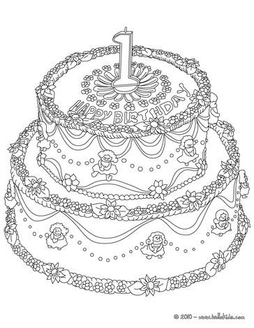 Desenho de um bolo de aniversário de 1 ano para colorir