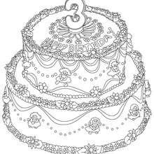 Desenho de um bolo de aniversário de 3 anos para colorir