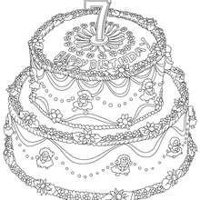 Desenho de um bolo de aniversário de 7 anos para colorir