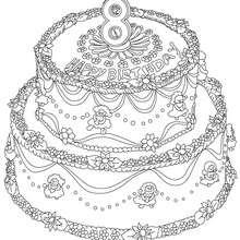 Desenho de um bolo de aniversário de 8 anos para colorir