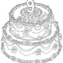 Desenho de um bolo de aniversário de 9 anos para colorir