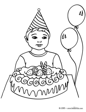 Desenho de um menino com um bolo de aniversário para colorir