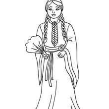 Desenho uma princesa Comanche para colorir