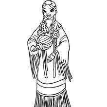 Desenho de uma Princesa Comanche para colorir