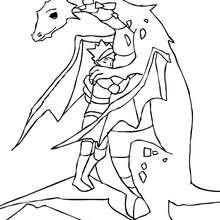Desenho para colorir de um Dragão com um cavaleiro