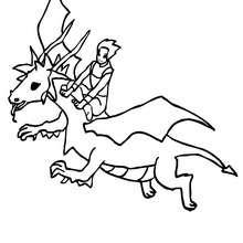 Desenho para colorir de um Dragão voando