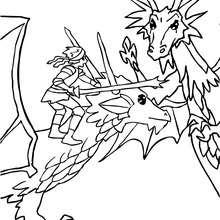 Desenho para colorir de uma batalha de Dragões