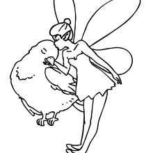 Desenho de uma fada beijando um passarinho  para colorir