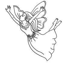 Desenho para colorir de uma fada voando