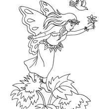 Desenho  para colorir de uma fada na floresta