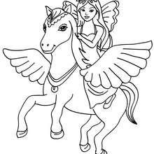 Desenho de uma fada com o Pegasus para colorir