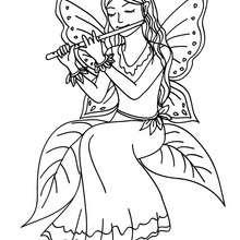 Desenho para colorir de uma fada tocando flauta