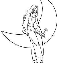 Desenho de uma fada na lua para colorir