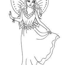 Desenho de uma fada com um belo vestido para colorir