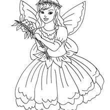 Desenho de uma fada com um vestido florido para colorir