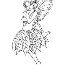 Desenho para colorir de uma fada com um vestido de folha
