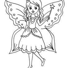 Desenho de uma fada com uma borboleta para colorir