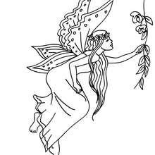 Desenho de uma fada com um vestido longo para colorir