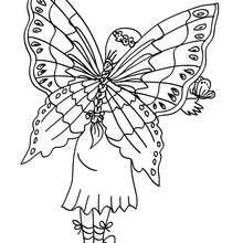 Desenho para colorir de uma fada com suas grandes asas