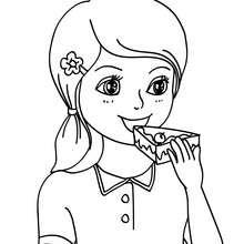 Desenho de uma menina comendo um bolo de aniversário para colorir