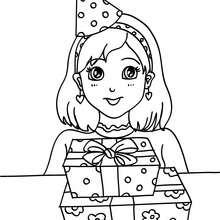 Desenho de uma menina com seu presente de aniversário para colorir