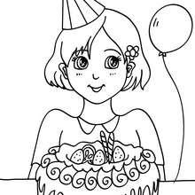 Desenho de uma menina com um bolo de aniversário para colorir