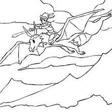 Desenho para colorir de um Cavaleiro no seu Dragão