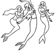Um grupo de sereias dançando para colorir