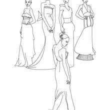 Desenho de um grupo de lindas princesas para colorir
