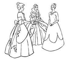 Desenho de um grupo de princesas para colorir