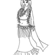 Desenho de uma Princesa havaiana para colorir