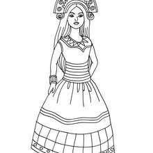 Desenho de uma Princesa Inca para colorir