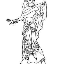 Uma Princesa Indiana para colorir
