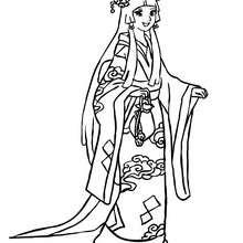 Desenho de uma Princesa tradicional Japonesa para colorir