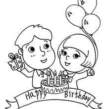 Desenho de uma festa de aniversário de criança pra colorir