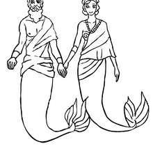 Desenho do Rei Tritão com sua Rainha para colorir