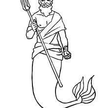 Desenho do Rei Tritão com o seu tridente para colorir
