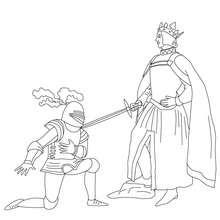 Desenho para colorir de um cavaleiro sendo homenageado por um rei