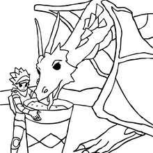 Desenho para colorir de um cavaleiro dando comida para o seu Dragão