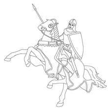 Desenho para colorir de um cavaleiro andando a cavalo