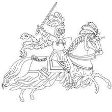 Desenho para colorir de um cavaleiro galopando com seu cavalo