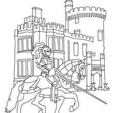 Desenho para colorir de um guerreiro na frente do castelo