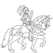 Desenho para colorir de um guerreiro com sua espada no seu cavalo