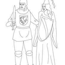 Desenho para colorir de um cavaleiro com uma princesa