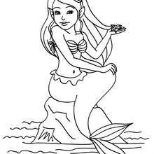 Desenho de uma sereia sentada na pedra para colorir