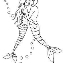 Desenho de um casal sereia para colorir